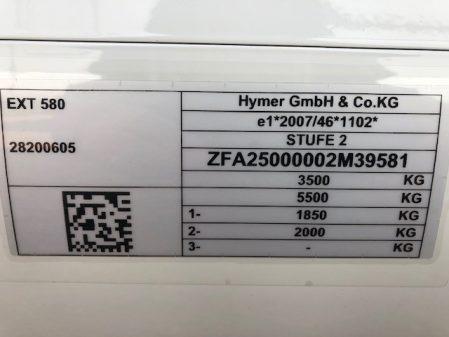 2020 Hymer EXSIS T 580